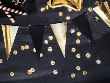 Guirlande de fanions en carton noires et dorées 13 x 215 cm-1