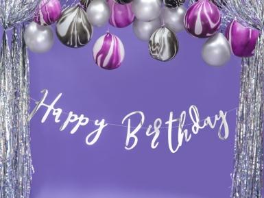 Guirlande en carton happy birthday argentée métallisée 16,5 x 62 cm-1