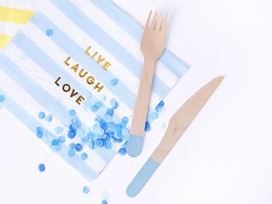18 Couverts en bois bleu ciel 16 cm-1