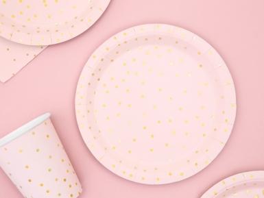 6 Petites assiettes en carton rose pâle et pois dorés 18 cm-1