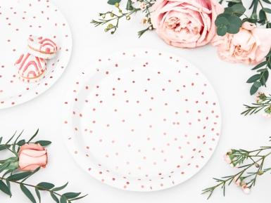 6 Petites assiettes en carton blanches et pois rose gold 18 cm-1