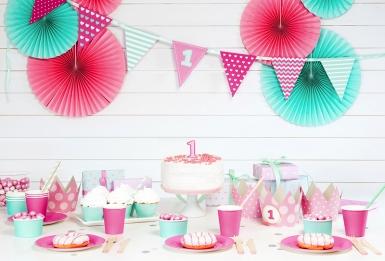6 Petites assiettes en carton roses 18 cm-2