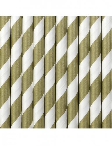 10 Pailles en carton rayées blanches et dorées 19,5 cm-1