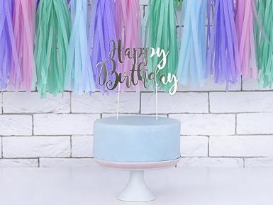Cake topper en carton happy birthday argenté métallisé 22,5 cm-1