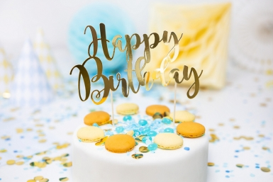 Cake topper en carton happy birthday doré métallisé 22,5 cm-1