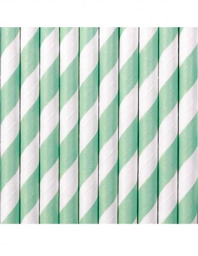 10 Pailles en carton rayées blanches et menthe 19,5 cm-1