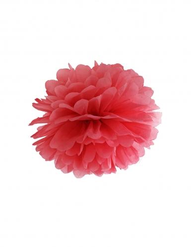 Pompon à suspendre en papier rouge 35 cm