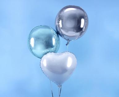 Ballon aluminium rond bleu ciel métallisé 40 cm-1