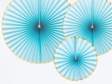 3 Rosaces en papier turquoises et dorées 23, 32 et 40 cm-1