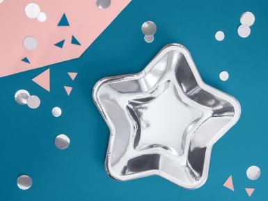 6 Assiettes en carton étoile argentée 23 cm-1