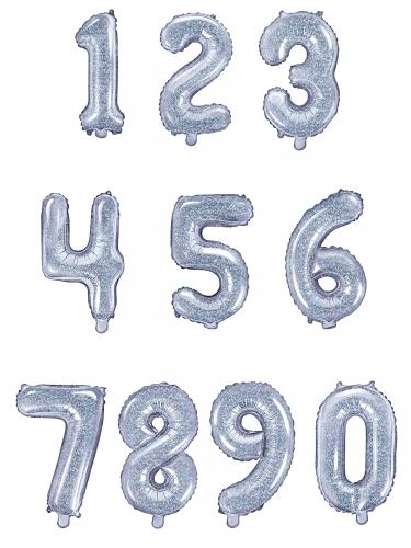 Ballon en aluminium chiffre iridescent 35 cm-1