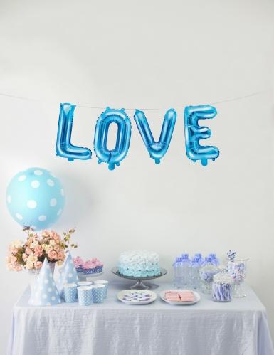 Ballon en aluminium lettre bleu 35 cm-2