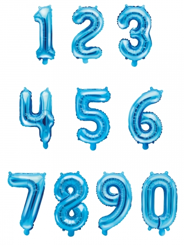 Ballon en aluminium chiffre bleu 33 cm-1