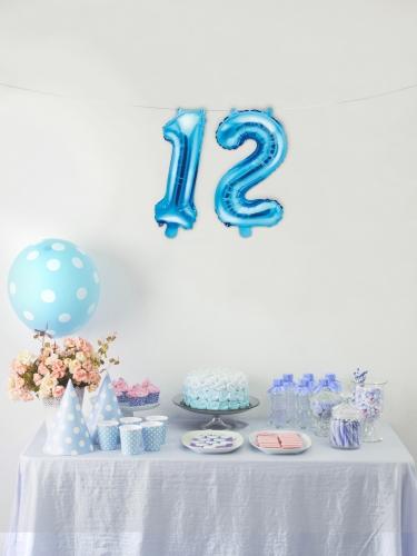 Ballon en aluminium chiffre bleu 33 cm-2