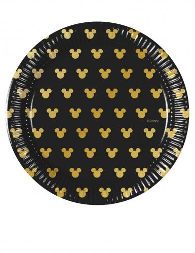 8 Petites assiettes en carton Mickey Gold™ 20 cm