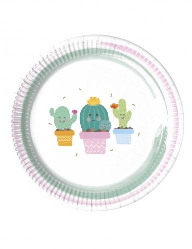 8 Petites assiettes en carton Petits Cactus 20 cm