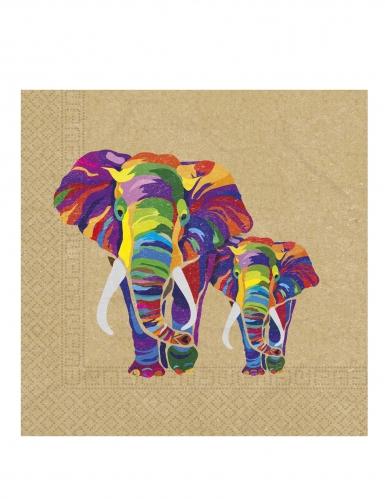 20 Serviettes en papier éléphant multicolore 33 x 33 cm