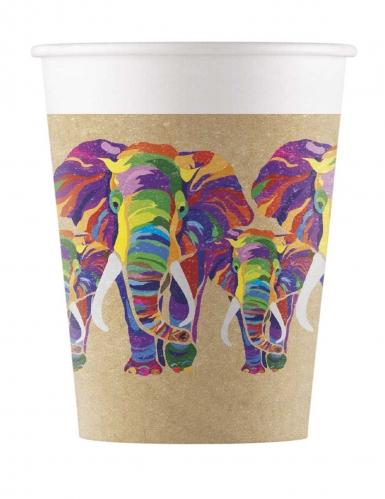 8 Gobelets en carton biodégradable éléphant multicolore 200 ml