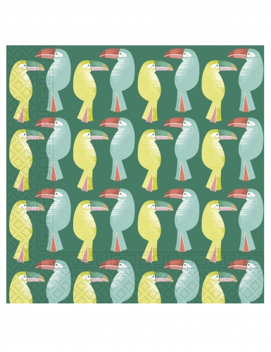 20 Serviettes en papier Toucan tropical 33 x 33 cm