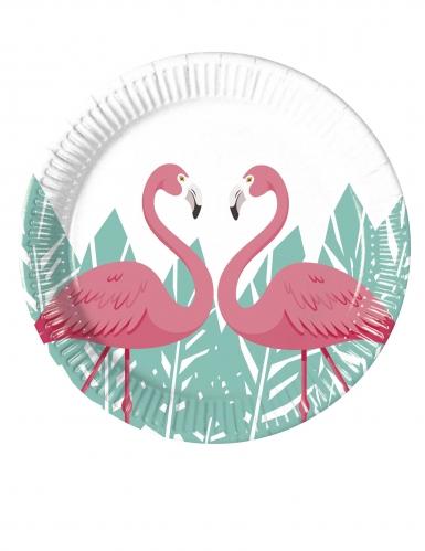 8 Petites assiettes en carton Flamingo 20 cm