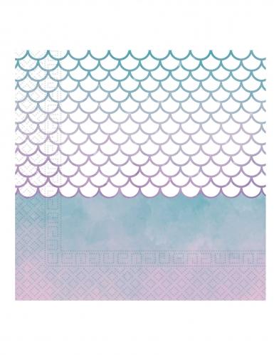 20 Serviettes en papier sirène élégante 33 x 33 cm