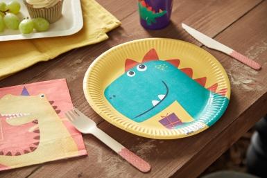 8 Assiettes en carton dinosaure party 23 cm-1