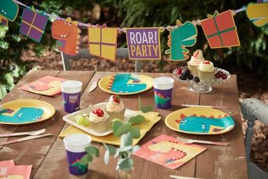 8 Assiettes en carton dinosaure party 23 cm-2
