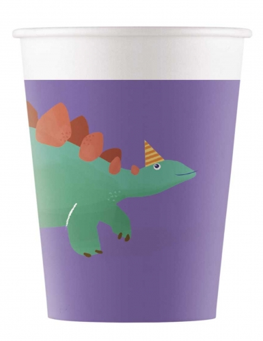 8 Gobelets en carton compostable dinosaure party 200 ml