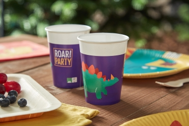 8 Gobelets en carton compostable dinosaure party 200 ml-1
