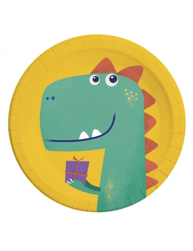 8 Assiettes en carton dinosaure party 23 cm
