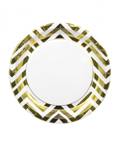8 Assiettes en carton chevron métallisé doré 23 cm