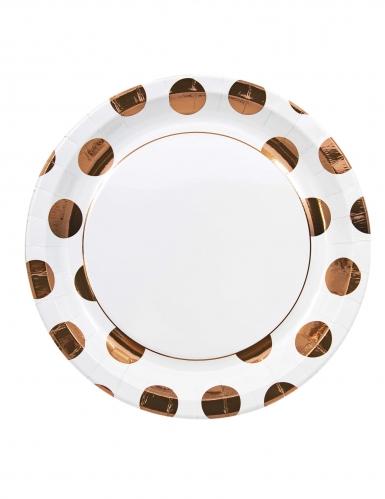 8 Assiettes en carton à pois métallisé cuivré 23 cm
