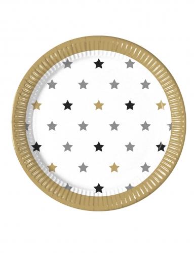 8 Assiettes en carton étoiles doré noir argent 23 cm