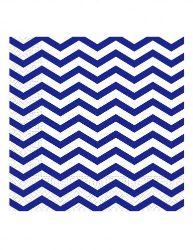 20 Serviettes en papier bleu roi chevron 33 x 33 cm