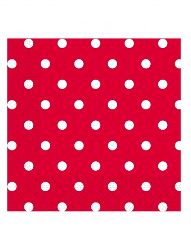 20 Serviettes en papier rouge à pois 33 x 33 cm