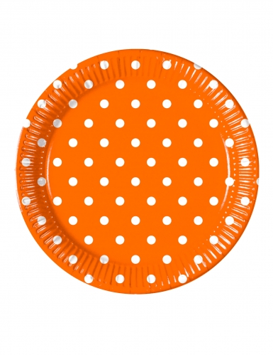 8 Assiettes en carton orange à pois 23 cm