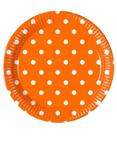8 Petites assiettes en carton orange à pois 20 cm