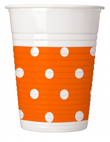 8 Gobelets en plastique orange à pois 200 ml