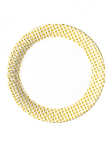 10 Assiettes en carton vichy jaune et blanc 23 cm