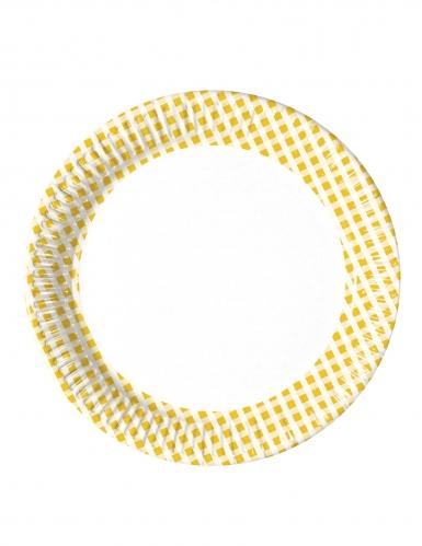 10 Petites assiettes en carton vichy jaune et blanc 16 cm