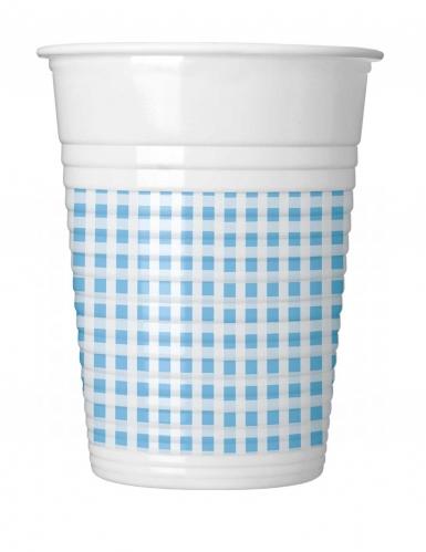10 Gobelets en plastique vichy bleu ciel et blanc 200 ml