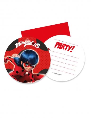6 Cartons d'invitation avec enveloppes Miraculous Ladybug™