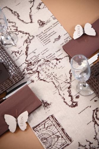 Chemin de table en coton carte de voyage 28 cm x 3 m-1