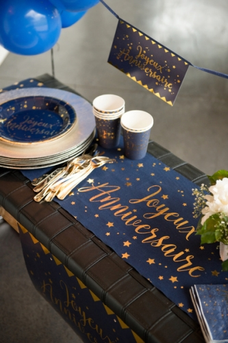 Chemin de table coton joyeux anniversaire bleu et or 28 cm x 3 m-1