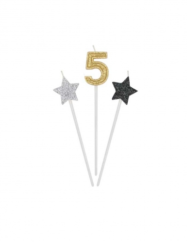 3 Bougies d'anniversaire chiffre dorées, argentées et noires 16 cm-5