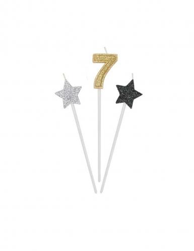 3 Bougies d'anniversaire chiffre dorées, argentées et noires 16 cm-7