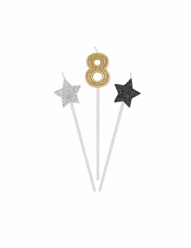 3 Bougies d'anniversaire chiffre dorées, argentées et noires 16 cm-8