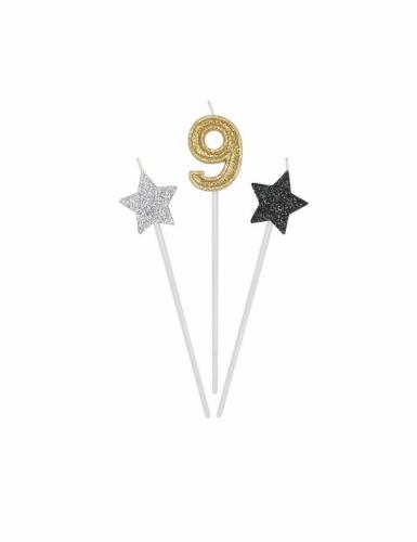 3 Bougies d'anniversaire chiffre dorées, argentées et noires 16 cm-9