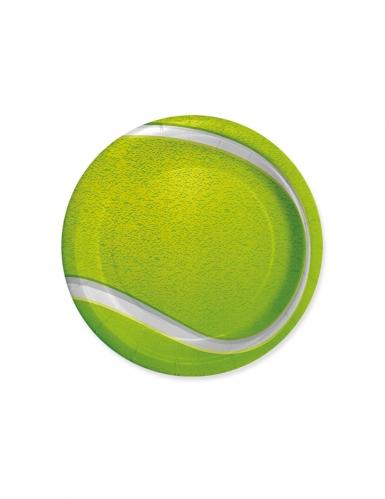 8 Petites assiettes en carton balle de tennis 18 cm