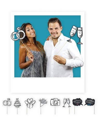 Kit photobooth jeunes mariés 8 accessoires